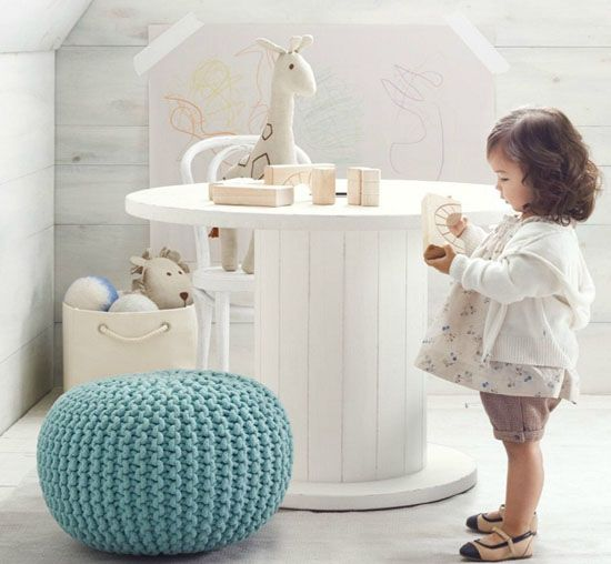 RECYCLING...love the knitted poof stool!