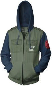 Naruto Kakashi Cosplay Military Adult Fleece Zip Hoodie