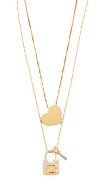 TORY BURCH Metal Heart And Padlock Necklace Set. #toryburch #set