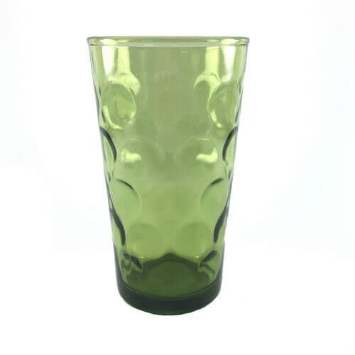 My beer doesn't have to be dyed green on St. Pattys Day when I drink out of this vintage glass.  | Dark Green Beverage Tumblers with Inverted Dot Pattern | Set of 8 Find vintage kitchenware and barware at shopvintagegrace.com