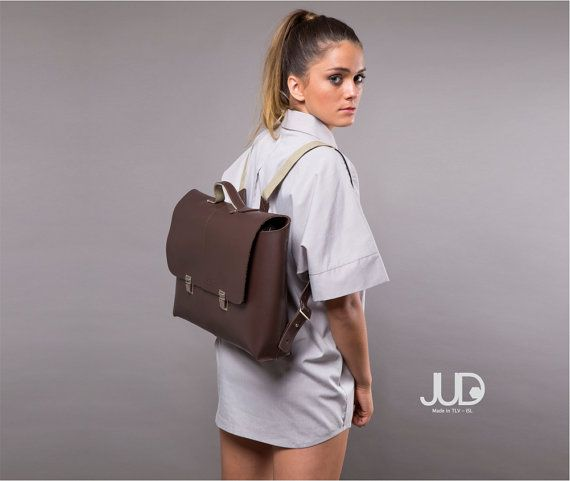 Brown leather backpack purse  brown leather satchel  by JUDtlv