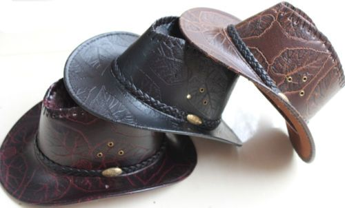 New Unisex Leather Cowboy Hat Mens Hats Ladies Caps Womens Western Headwear Cap | eBay