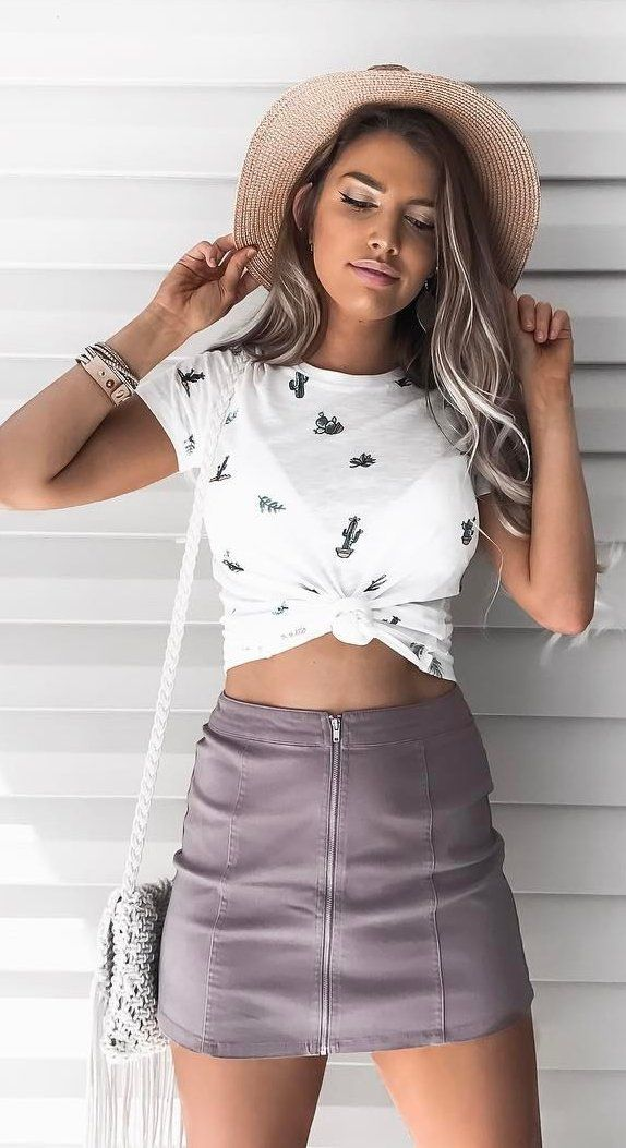 Beige Hat + White Printed Crop Top + Purple Zipped Skirt