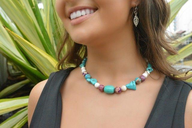 Maryha Necklace, gemstone, jewellery, one leaf, art, design, kat atkins