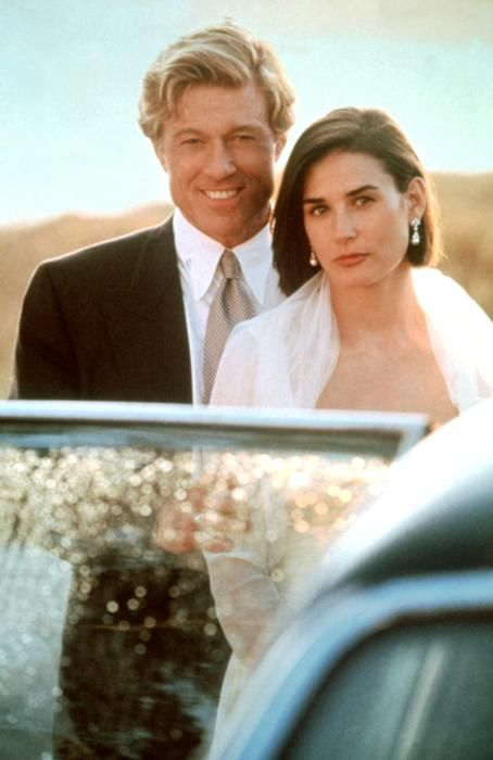 Robert Redford and Demi Moore on the set of Indecent Proposal (1993).