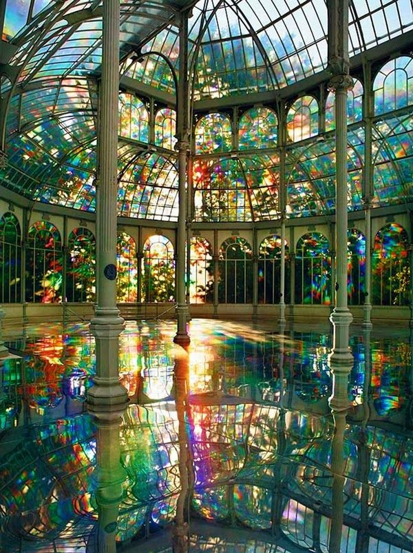 Kimsooja's Room of Rainbows in Crystal Palace Buen Retiro Park, Madrid Spain