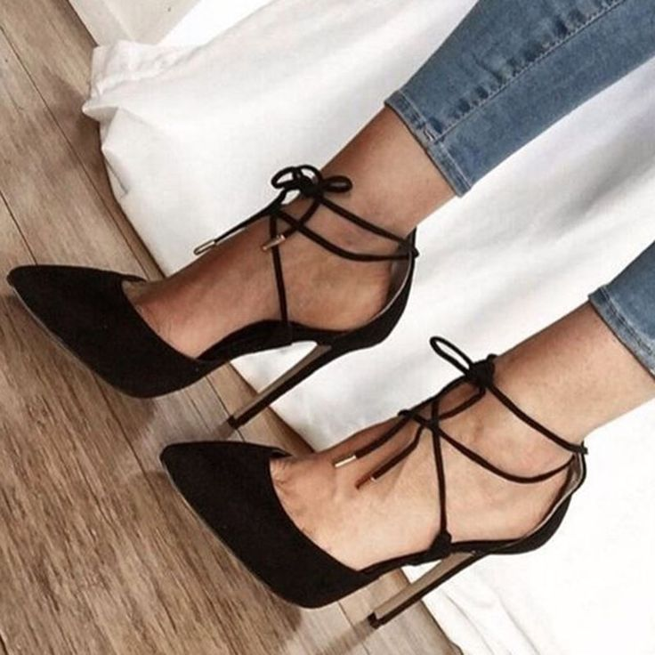 How to Sexy Black Lace Up Stiletto Heels #Women'sFashion