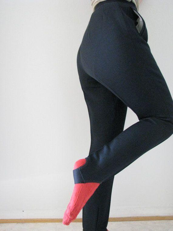 60 s pantalons de Ski noir w / étriers, de Virtovaate en Finlande, XS-S / W25 L27, parfait état / / pantalons Vintage plissé haute taille hiver