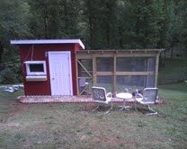 This is my Mountain Woman Chicken Tractor accessory, foroutings in the yard: