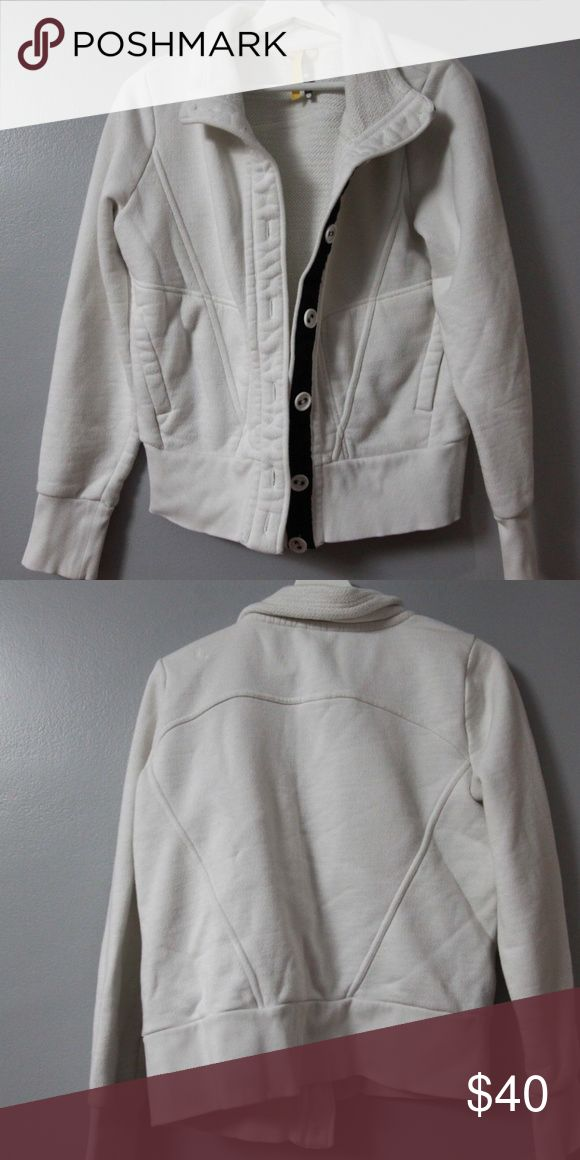 Lole Jacket Sz L Beautiful jacket from Lole in size large. Off white, button front. Cotton and polyester blend. Offers nice warmth but wicking (terry inside).  Bottom button is a little loose.  Measurements Bust 46 inches Length 22 inches Lole Jackets & Coats