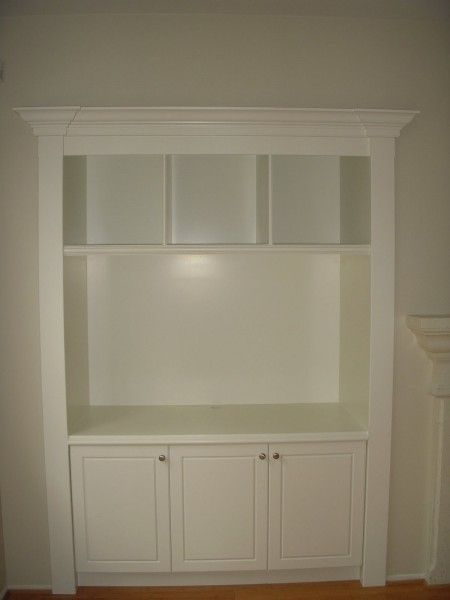 built in idea.  Perfect for small master bedroom extra closet.  Hang tv and make a coffee station.  Could also add pocket doors