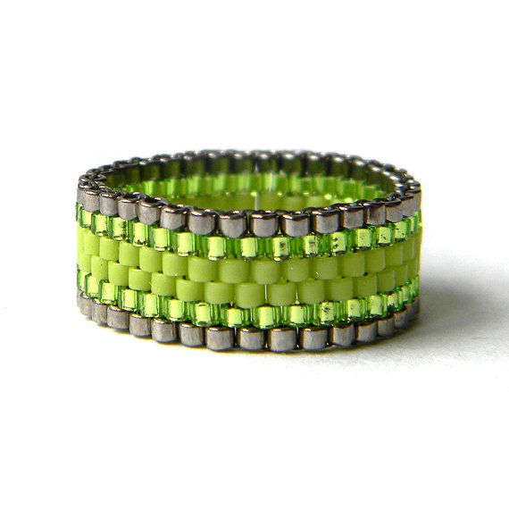 Green peyote ring bright green beaded ring by HappyBeadwork