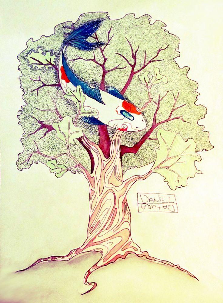 Он приносит свою большую рыбу, поселяет в ветках дуба, как чешуйчатую птицу, и оставляет плескаться и плавать среди листьев. Чем дольше она делает это, тем ему спокойнее. Он гасит все звуки, кроме тихого плеска, и держит мир под водой.  Fish in the branches by Daniel-Datura