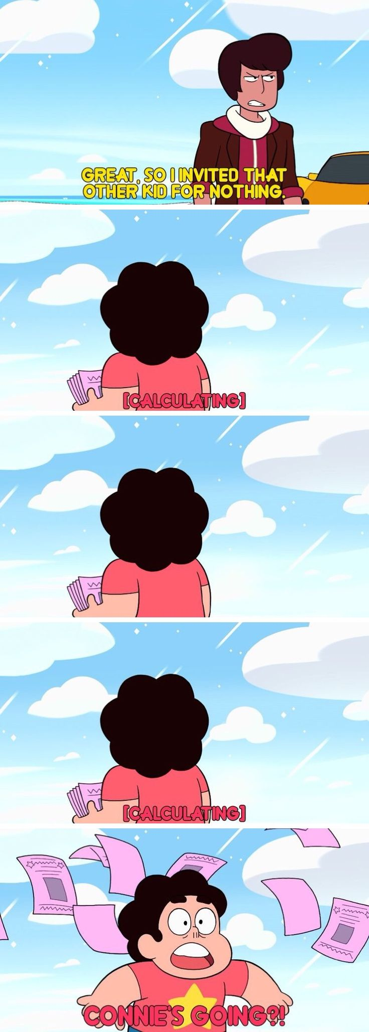So yeah. KEVIN is going to be the instrument that brings Steven and Connie back together. I highly doubt we'll actually see Stevonnie yet. That would take quite a lot of healing for just one episode. It's especially ironic considering how Kevin has freaked Stevonnie out to the point where they unfused in both of his previous appearances. And also convinced Steven and Connie to fuse for all the wrong reasons in Beach City Drift.