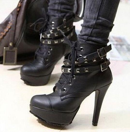 Barato Motocicleta Lace Up botas de couro de salto alto preto Punk rebites plataforma sapatos de outono, Compro Qualidade Botas diretamente de fornecedores da China:                     Bem-vindo à loja de linda, Aprecie sua compra!                                 Descrição do produto: