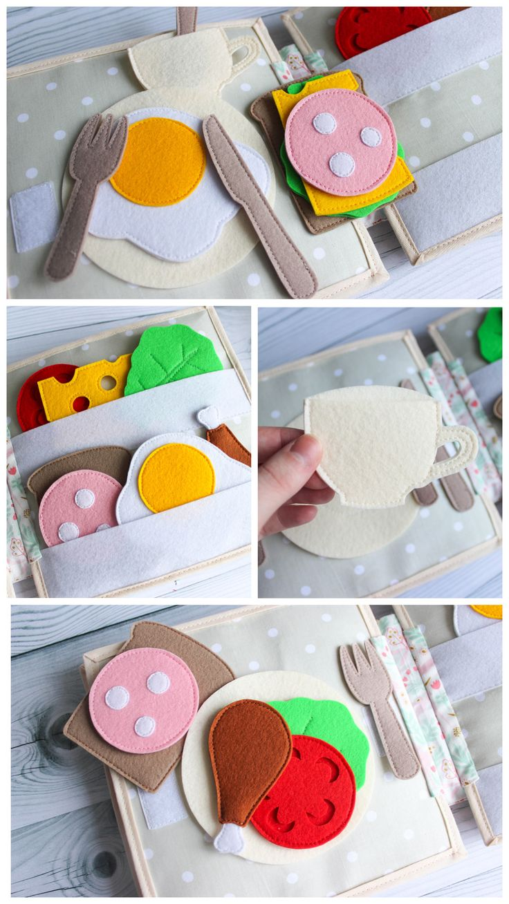 Busy boards with felt food, handmade activity book for toddlers, interactive quiet book