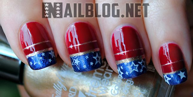 Captain America Nails! (Win the nail plate & stamper used to create this look @ nailblog.net)