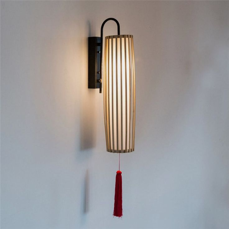 Classical Bamboo Wall Sconce Southeast Asian Wall Light With Tassels Hallway Decorative Lighting Asian Wall Lighting Wall Lights Contemporary Wall Lights