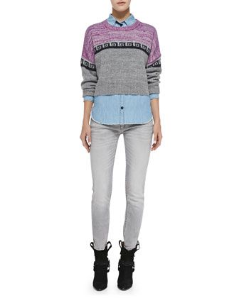 Reply Greek Key Colorblock Crop Sweater, Sade Linen-Blend Chambray Shirt & Arno Zigzag Stripe-Embellished Ankle Jeans by Isabel Marant Etoile at Bergdorf Goodman.