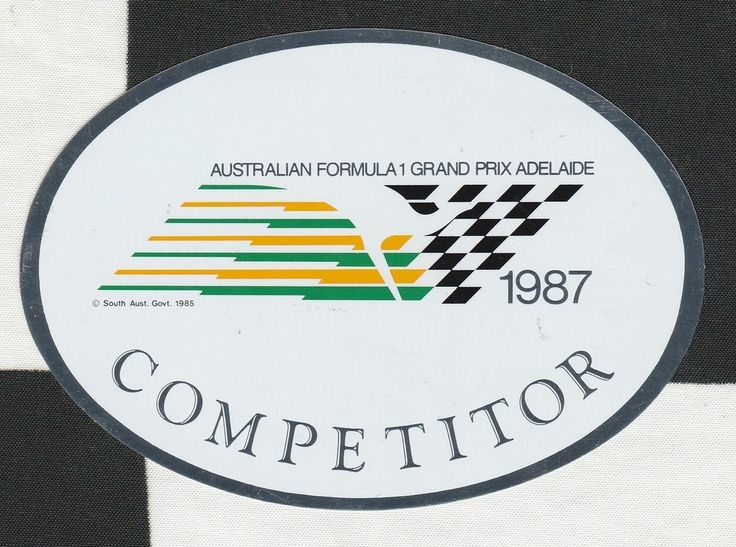 1987 australian adelaide gp competitor original period race sticker aufklleber racing stickers and motor sport