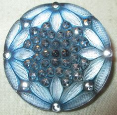 Gorgeous True Antique Victorian Blue Lacy Glass Button - Near Perfect Exquisite!
