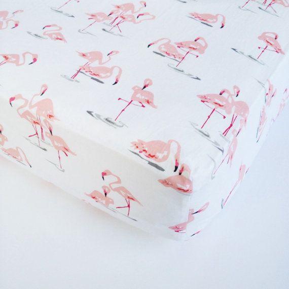 Baby Girl Bedding  Flamingo Crib Sheet / Changing Pad by Babiease