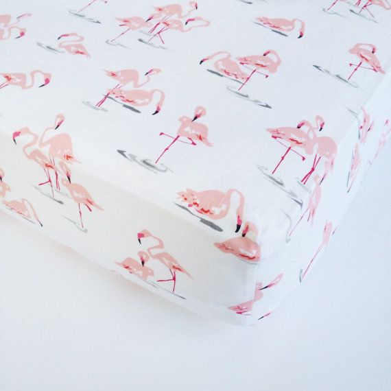Baby Girl Bedding  Flamingo Crib Sheet / Changing Pad by Babiease