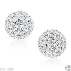 14Kt Solid White Gold 1.61 Ct Round Shape Solitaire Diamond Jacket Stud Earrings