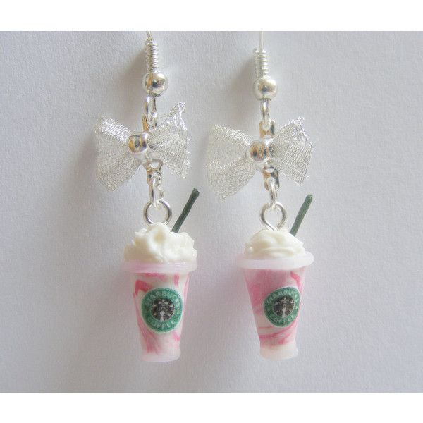 Starbucks inspired Strawberry Frappuccino Miniature Food Earrings - Miniature Food Jewelry (21 CAD) found on Polyvore