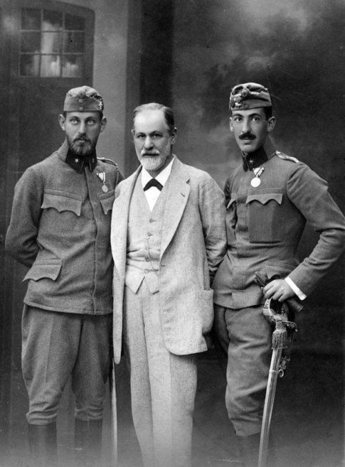 Sigmund Freud with his sons , Ernest and Martin, who served in the Austro-Hungarian army in WW-1, 1914