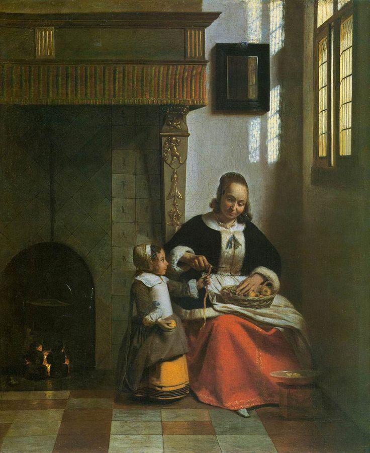 """""""A Woman Peeling Apples"""" c.1663 Pieter de Hooch [Dutch Golden Age, Baroque Era Painter, 1629-1684]"""