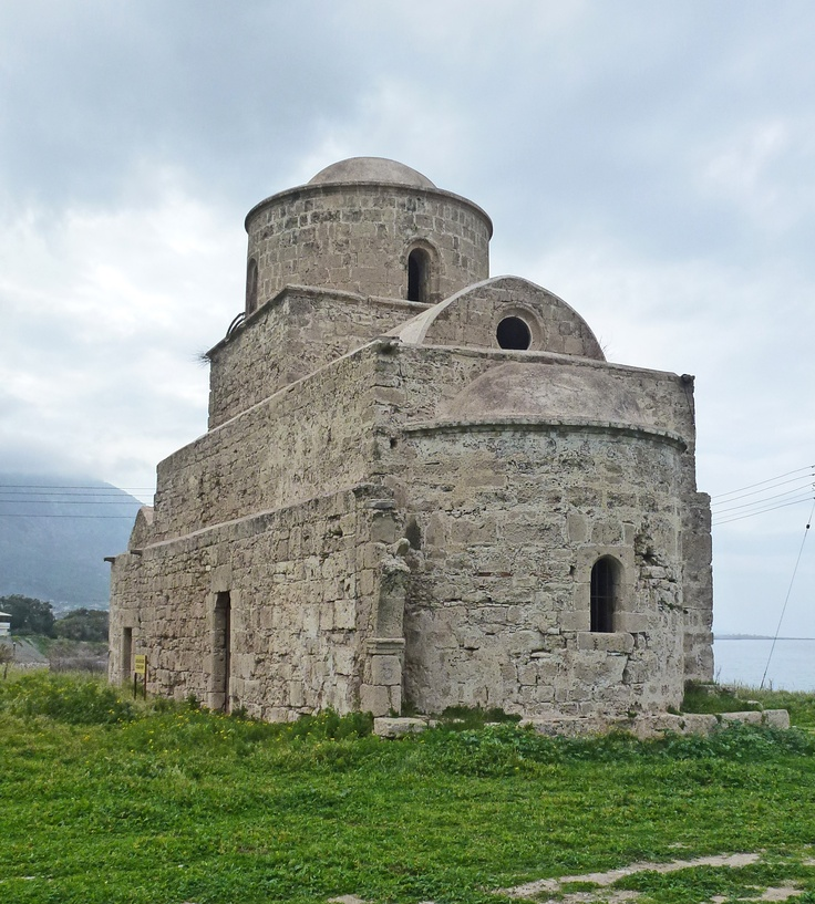 Evlavlios Church, Lambousa.  Built in 2th-9th and 12th centuries, it has a Franco & Byzantine architecture style, and was erected by Archbishop Neophytos in the 16th century. It is situated on the site of Lambousa or Lapithos, an ancient city founded by Phoenician traders in the 8th century BC. Lambousa is located on the north coast of North Cyprus, close to the port of Kyrenia.