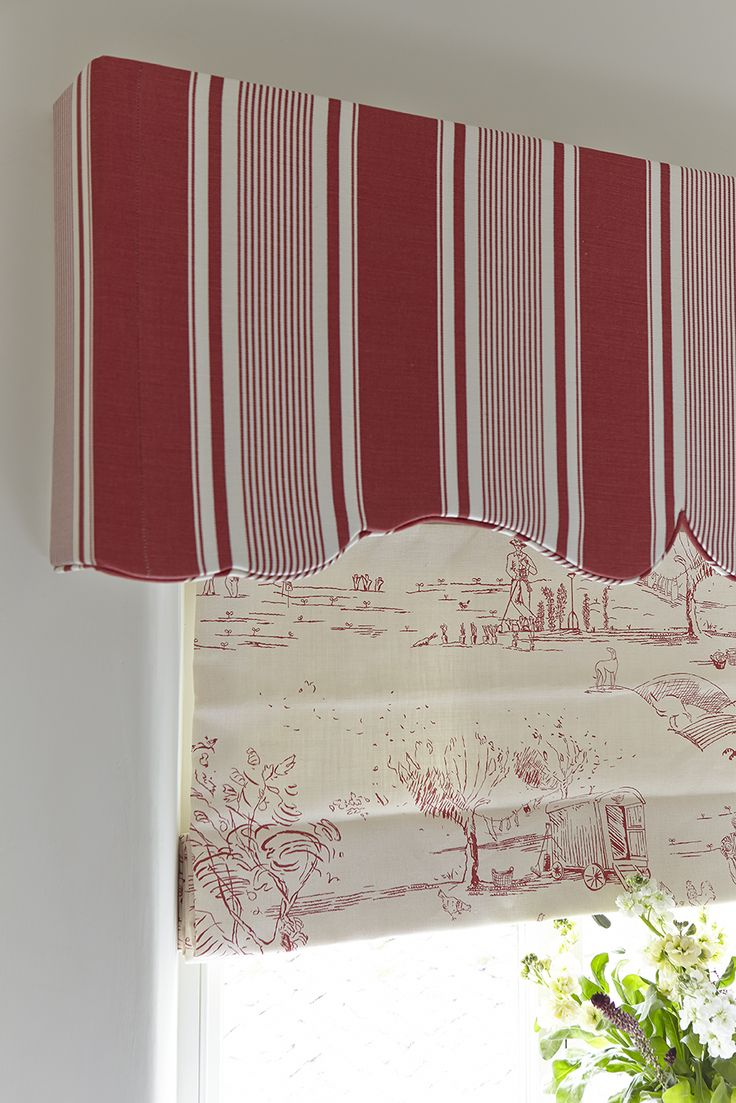 French Ticking in Raspberry - Pelmet