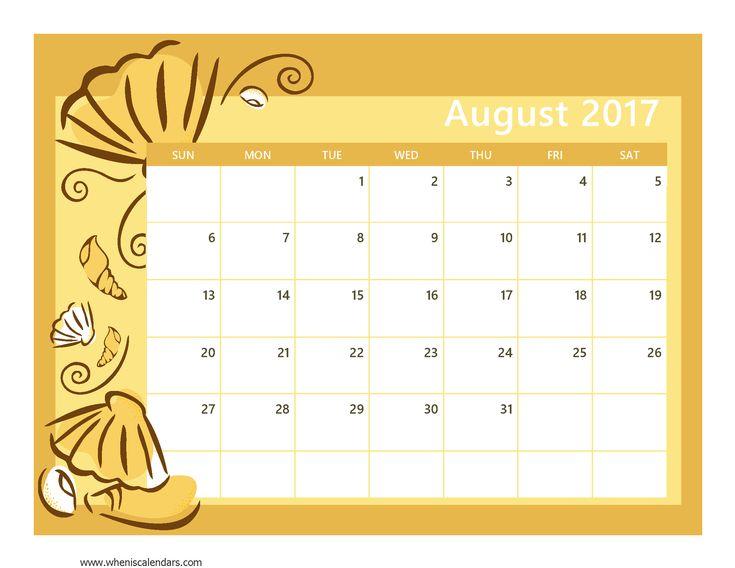 August 2017 Calendar template  http://socialebuzz.com/august-2017-calendar-printable-template/