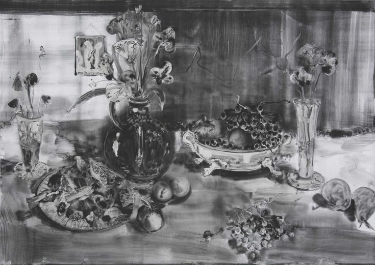 Christopher Cook 'plate of birds' graphite on paper 72 x 102cm 2016
