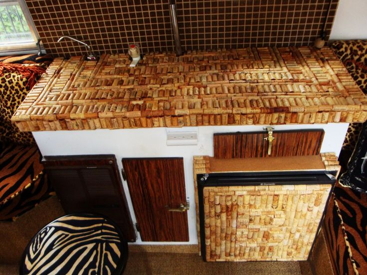 Boler Interior  Great Up Cycling Site Link! This Is A Trailer Sink Cover  Top(the Interior Animal Prints Are Overkilled And Tragic, But.
