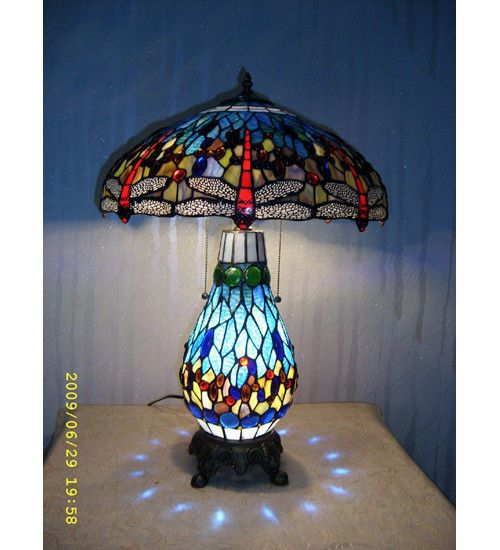 Meyda Lighting 118840 Tiffany Style Stained Glass Dragonfly Table Lamp/Lit Base in Home, Furniture & DIY, Lighting, Lamps | eBay