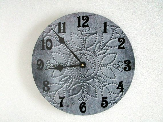 Farmhouse Wall Clock - Antique Punched Tin Pattern - Rustic Gray Wall Decor - Unique Wall Clock - Country Decor