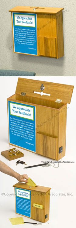 "Wall Mount Suggestion Box, Wood Construction with Oak Finish, Locking Lid, Pocket for Blank Forms, 8-1/2"" x 11"" Sign Frame, Security Pen Included"