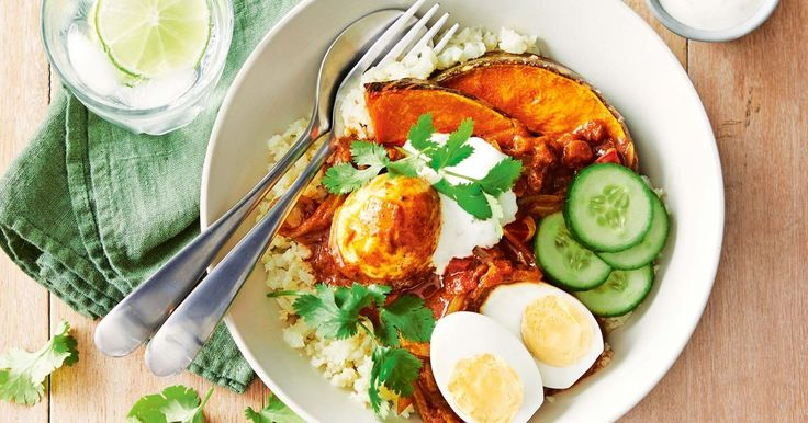 Take advantage of seasonal produce and try this vegetarian curry dish served with cauliflower rice and topped with roast pumpkin.