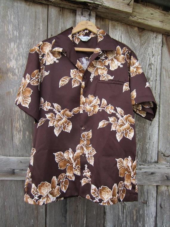 70s Brown Floral Hawaii Nei Aloha Shirt, Men's L // Vintage Tropical Hawaiian Shirt