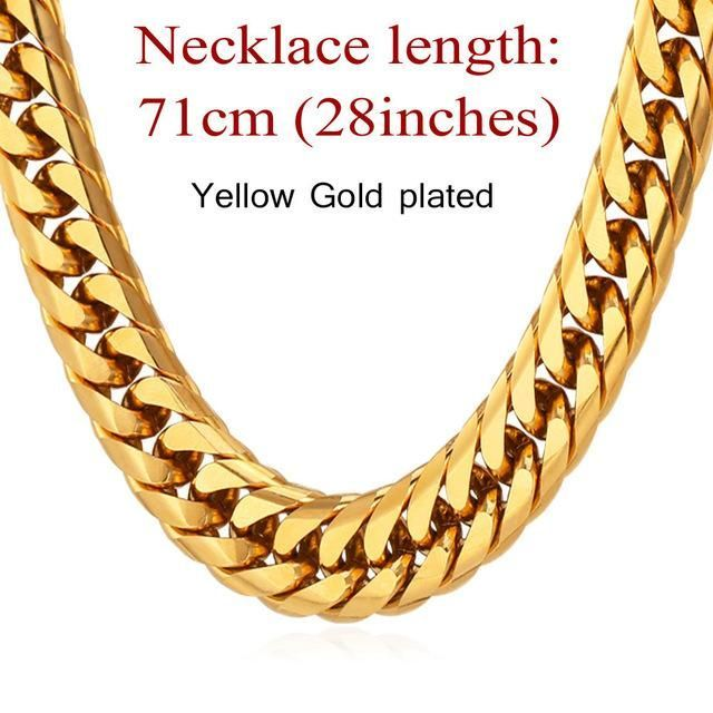 Chain Men Style Chunky Necklace Gold Black Hip Hop Chains