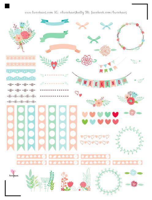 Planner & Journaling Printables ❤ FREE printable floral planner stickers | pastel love