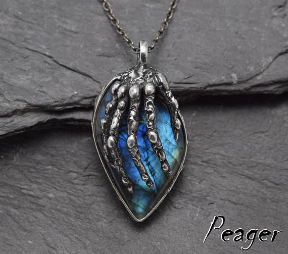 Labradorite necklaceWitch necklaceHalloween necklaceFinger