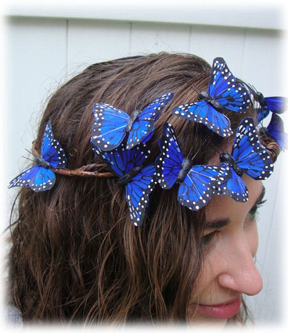 Love, love, love! http://www.etsy.com/listing/75877743/blue-butterfly-woodland-crown