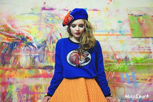lga Kalicka for MissSpark. Photo/Fashion/Styling: Agnieszka Iskierka. Cute, kawaii. Love, Fox, Foxes. Blue FOX Sweatshirt, Quilted Skirt & Beret available online: shop.missspark.com.
