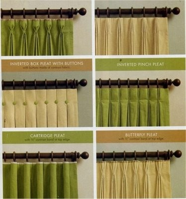 Curtain pleats window treatments pinterest window for Different styles of drapes