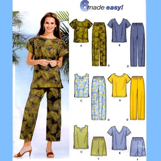 285 Simplicity 7236 Womens Plus Size Tops Pants Shorts sizes 18W 20W 22W 24W Bust 40 42 44 46 Six Made Easy Sewing Pattern Uncut by ladydiamond46 on Etsy                                                                                                                                                      More