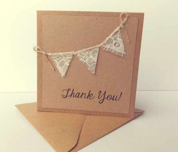 Thank You Cards, Rustic wedding, Kraft card with lace bunting thank you cards