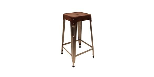 Medium Metal and Leather Industrial Stool
